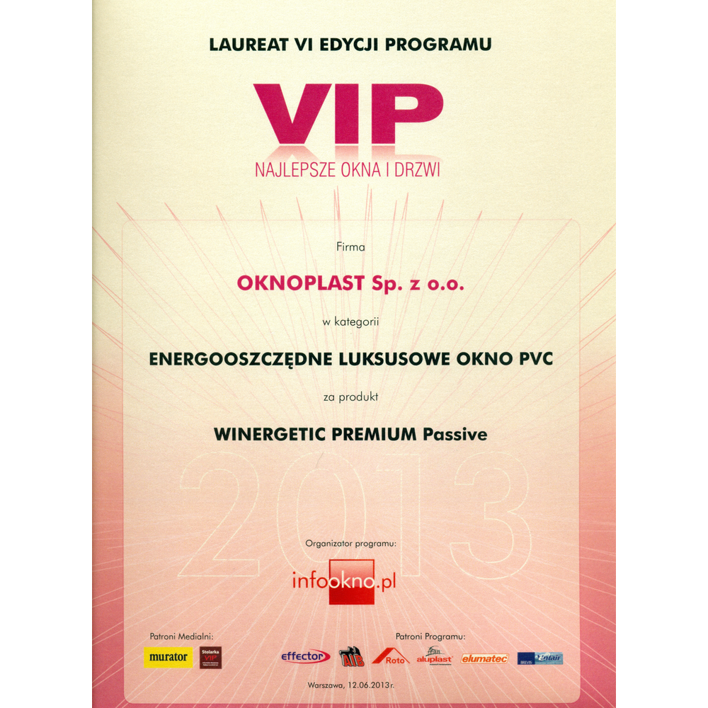 VIP Best Windows and Doors 2013 - energy-saving premium PVC window