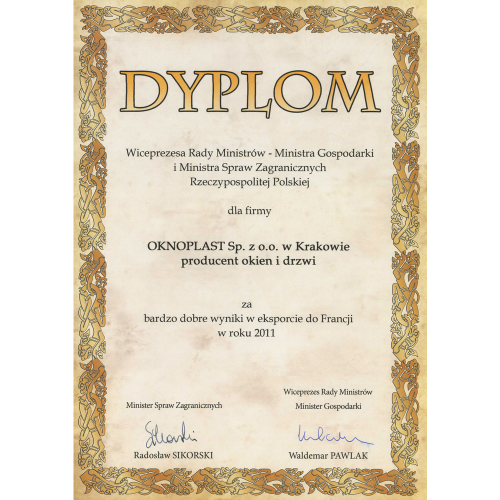 Diploma of the Deputy Prime Minister - Minister of Economy and Minister of Foreign Affairs of the Republic of Poland