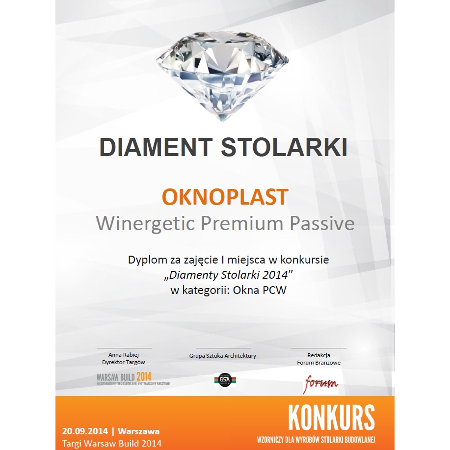 Joinery Diamond 2014 for the Winergetic Premium Passive window