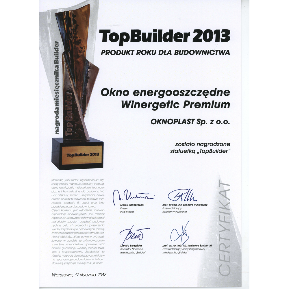 Top Builder 2013 award for the Winergetic Premium Passive window